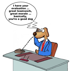 Cartoon of businessman dog getting his evaluation over the phone, great teamwork, great morale, you're a good dog.