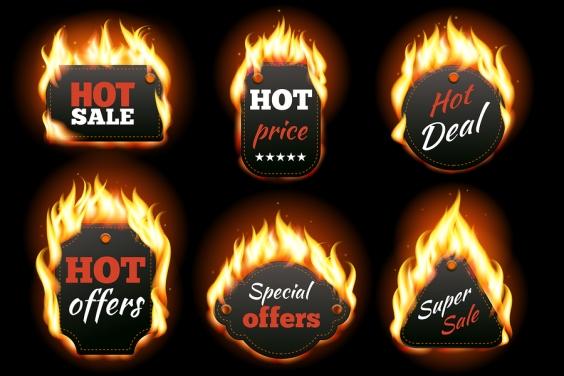 Vector fire labels set