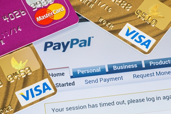 Online Shopping Paid Via Paypal Payments Using Plastic Cards Vis