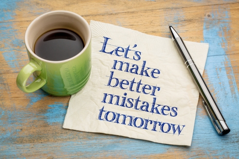 Let's make better mistakes tomorrow - handwriting on a napkin wi